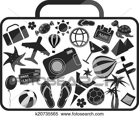 Black And White Luggage Composed From Different Travel Elements Isolated On Background