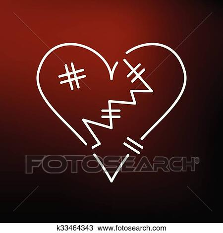 Clipart Of Broken Heart Icon On Red Background K33464343 Search