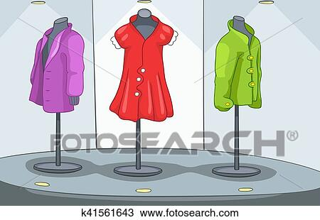 drawing of cartoon background of clothes shop k41561643 search
