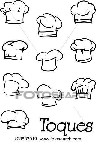 Chef Cuistot Et Boulanger Isolé Toques Silhouettes Clipart