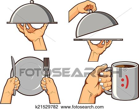 Clipart Of Food Hand Sign Serving Tray And H K21529782 Search