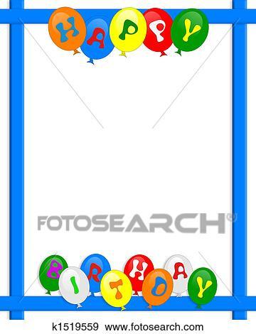 Cadre Anniversaire banque d'illustrations - joyeux anniversaire, ballons, frontière