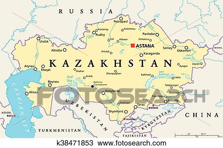 Kazakhstan Political Map.Kazakhstan Political Map Clipart K38471853