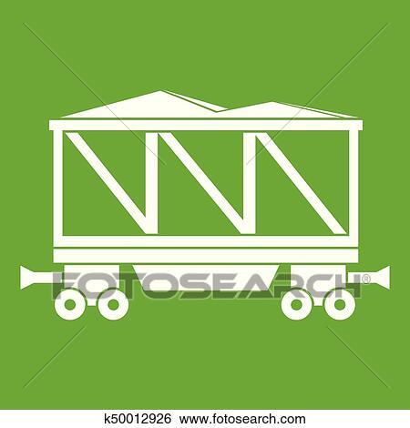 Railway wagon icon green Clip Art