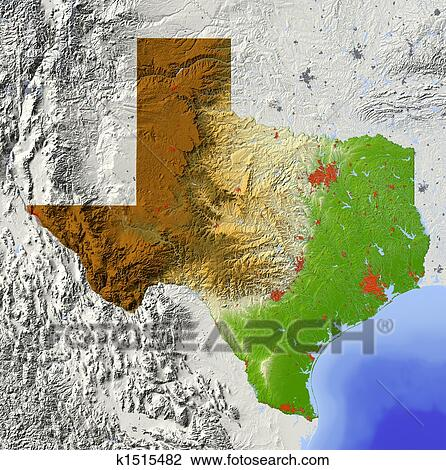 Large Map Of Texas.Texas Shaded Relief Map Drawing