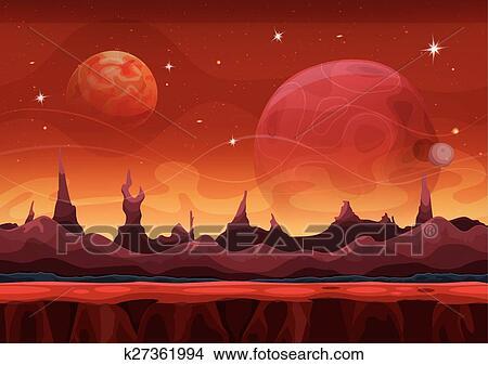 幻想 科學幻想小說 火星人 背景 為 Ui 游戲剪圖clipart K Fotosearch