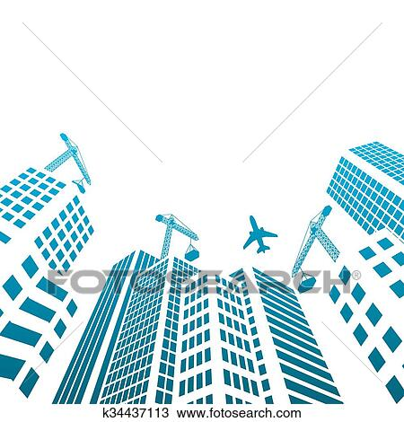 現代, 建物, そして, オフィス, ガラス, 建設 中, シルエット, の, 超高層ビル, 都市で クリップアート(切り張り)イラスト「絵画」集