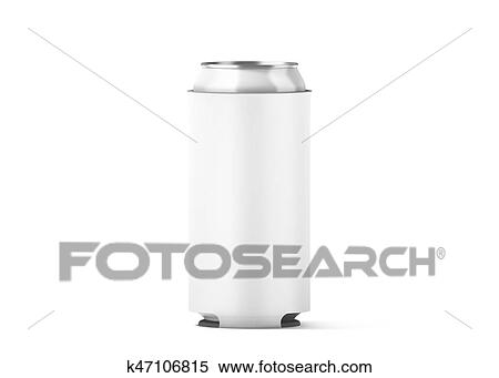 Stock Illustration of Blank white collapsible beer can koozie mock ...