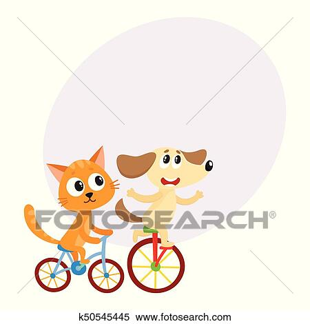 Clipart Of Cute Little Dog And Cat Kitten Characters Riding