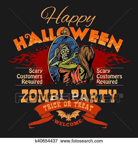 Clip Art of Halloween Party Flyer with Illustration of Female Zombie ...