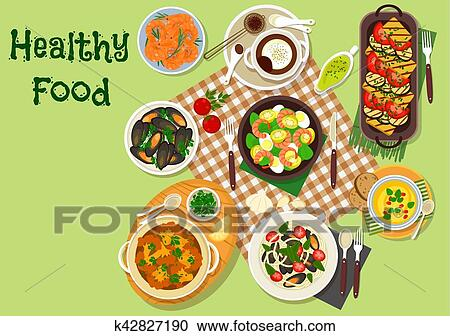 Clipart Of Seafood Lunch Dishes Icon For Menu Design K42827190
