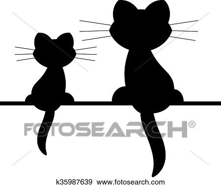 Clip Art Of Two Cats K35987639 Search Clipart Illustration