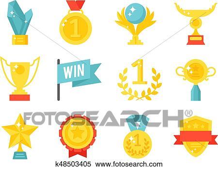 Vektor, trophäe, meister, becher, flache, symbol, gewinner, gold, auszeichnung, preis, sport, erfolg, am besten, gewinnen, goldenes, illustration.