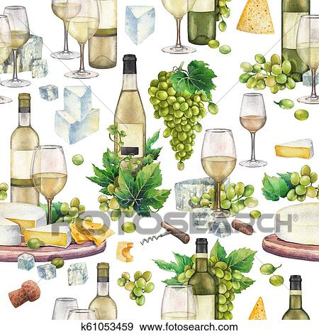 Watercolor Wine Glasses And Bottles White Grapes Cheese Cork Corkscrew Stock Illustration K61053459 Fotosearch