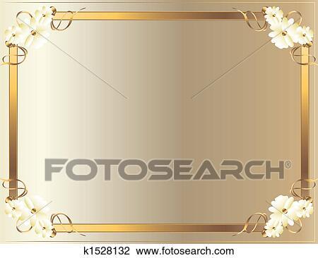 Clip Art Of White Gold Flower Frame K1528132 Search Clipart