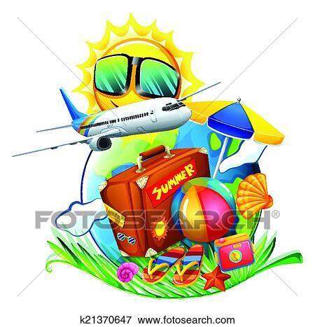 Clip Art Of A Summer Vacation K21370647