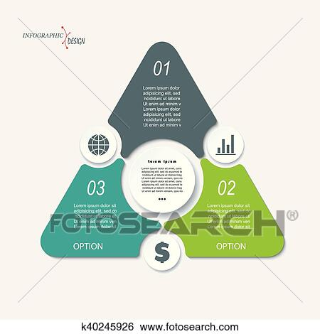 business concept design with triangle and 3 segments infographic template can be used for presentation web design workflow or graphic layout diagram