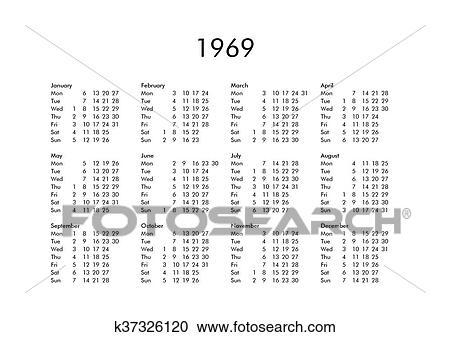 Calendario Del Ano 1969.Calendario De Ano 1969 Banco De Imagem