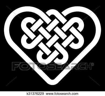 Celtic heart shape knot Clip Art | k31376229 | Fotosearch