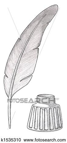 Feather quill pen with inkwell Clipart   k1535310   FotosearchQuill Pen And Inkwell Clipart