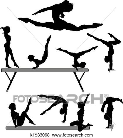 clip art of female gymnast silhouette balance beam gymnastics