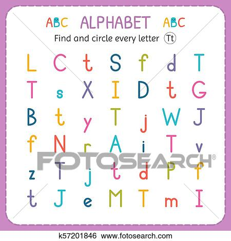 clip art of find and circle every letter t worksheet for  clip art  find and circle every letter t worksheet for kindergarten and  preschool