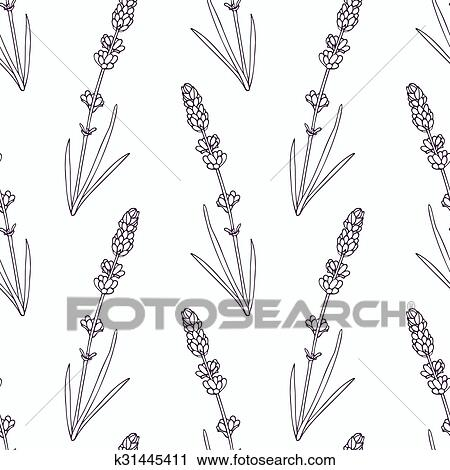 Hand drawn lavender branch and flowers outline seamless pattern Clipart