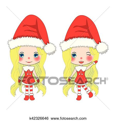 Clip Art of Merry Christmas with Cute Santa Girl. Pompom Hat and ...
