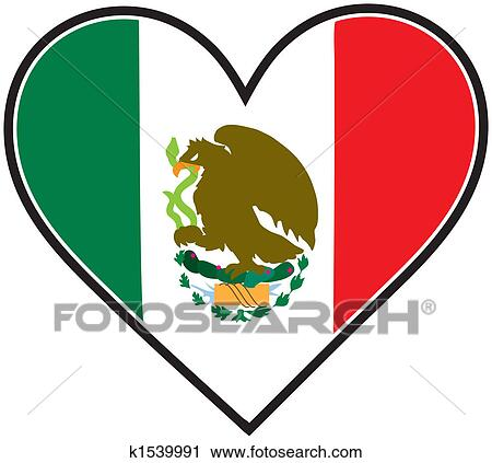 clipart of mexico heart flag k1539991 search clip art rh fotosearch com mexico flag clipart black and white mexico flag clipart