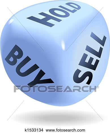 Stock Market Financial Dice Roll BUY SELL HOLD Clipart