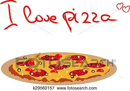 Clip Art Vettore Disegno Di Pizza Salame Olive Nere Funghi E
