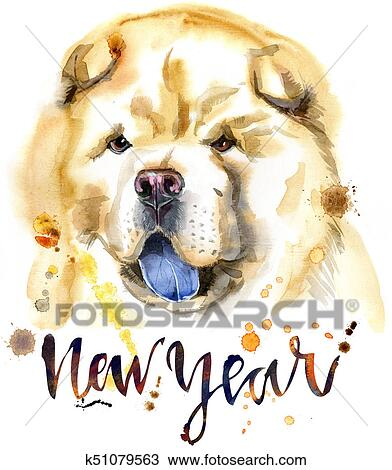 Watercolor Portrait Of Chow Chow Dog Drawing K51079563 Fotosearch