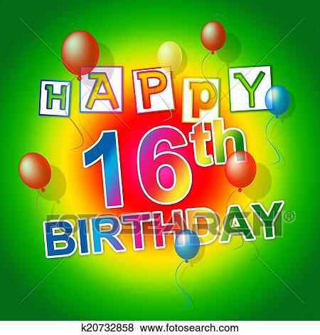 Stock Illustration Alles Gute Geburtstag Zeigt Sechs Teenager