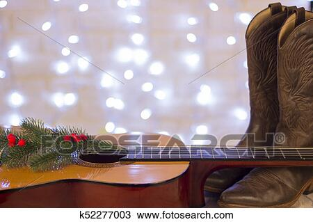Country Christmas Background.Country Music Christmas Background With Guitar And Cowboy