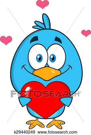 clip art of cute blue bird holding a love heart k29440249 search rh fotosearch com cute love clipart cute love couple clipart