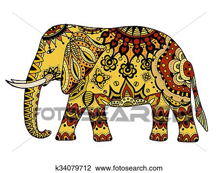Decore Elephant Indien Dessin K34079712 Fotosearch