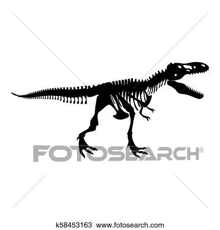 dinosaurier skelett, t rex, symbol, schwarz, farbe, abbildung, flache, stil, einfache, bild