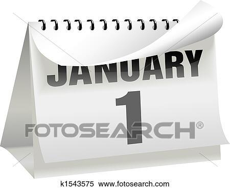 Page Calendrier.Nouvelles Annees Jour Calendrier Virages A Page Boucle A 1 Janvier Clipart