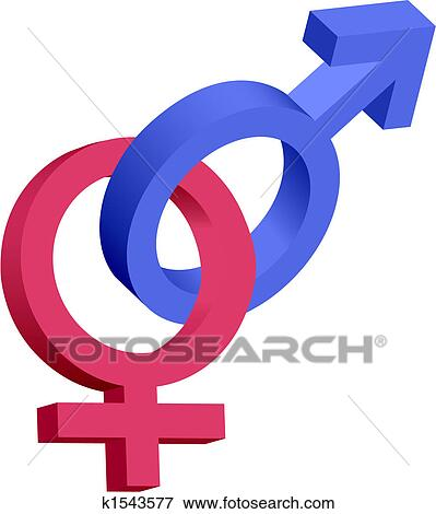 Clip Art Of Red And Blue Male Female 3d Symbols Interlocked K1543577
