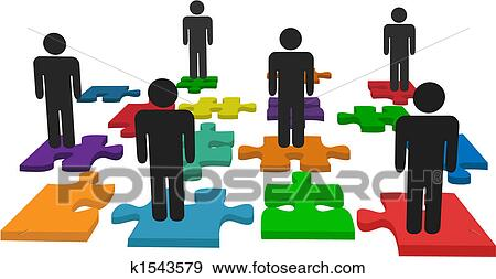 Clip Art Of Symbol People Team Stand On Jigsaw Puzzle Pieces