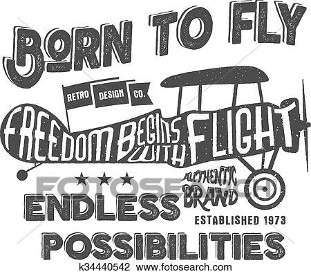 Clipart - vendimia, avión, letras, para, printing., vector ...