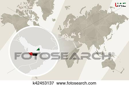 Clip Art of Zoom on United Arab Emirates Map and Flag. World Map ...