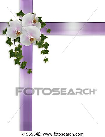 clip art of border white orchids and ivy k1555542 search clipart