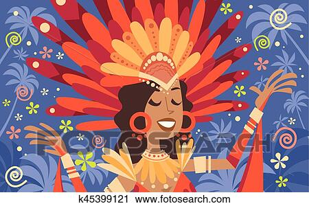 Brazil Carnival Latin Woman Wear Bright Costume Traditional Rio Party  Clipart