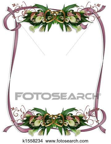 Drawings of Calla Lilies Border Wedding invitation k1558234 Search