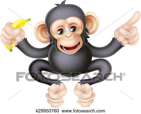 Cartone animato scimpanzé con banana indicare clipart