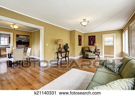 Casa, interno, con, aperto, pavimento, plan., soggiorno, con ...