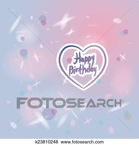 Clip Art Of Happy Birthday Card Heart Pink And Purple Vector