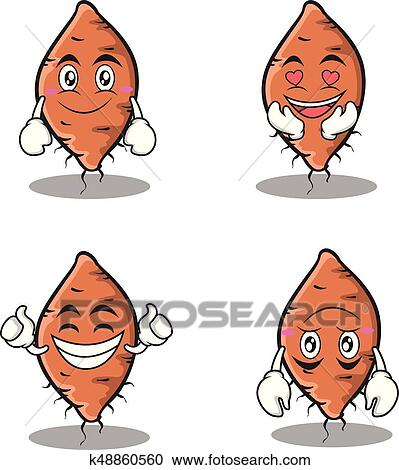 Set yam character cartoon collection Clipart | k48860560 ...