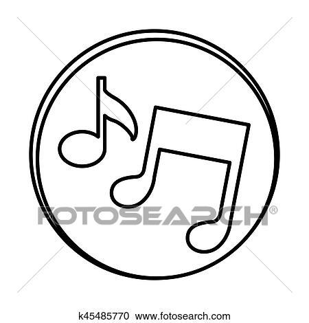 Silueta Simbolo Musica Sinal Icone Clipart K45485770